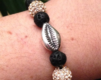 Bracelet Lava Stone + Silver Cauri