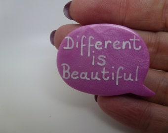 Hand Stamped Pearlescent Pink Clay Different Is Beautiful Quote Speech Bubble Brooch Pin Badge Large Caption