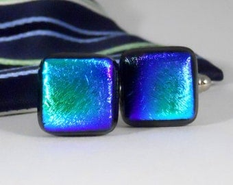Fused Dichroic Glass Cufflinks, Teal Green and Blue Tie Dyed on Black, Gift for Him
