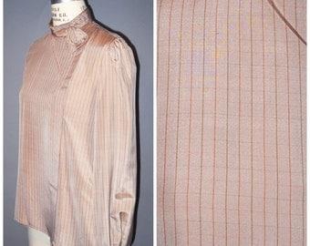 vintage silk blouse 1980's asymmetrical secretary style