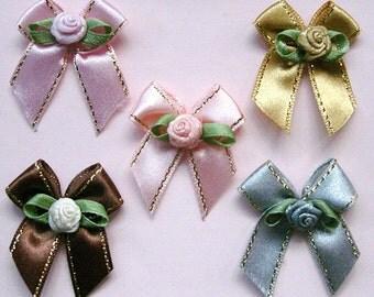 5 Mix Satin Flower Bow Appliques Embellishment / Satin Bow / DYI