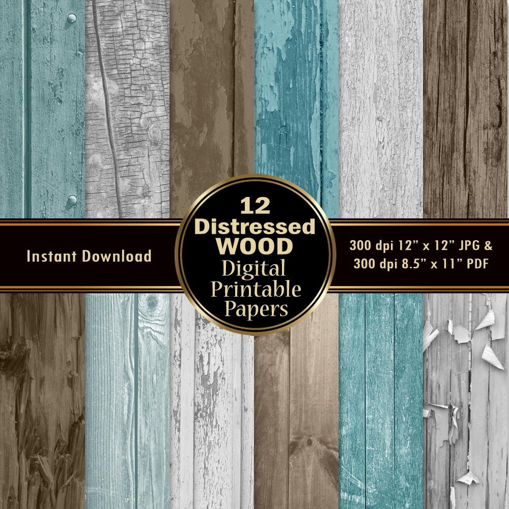 Scrapbook paper wood grain - Distressed Wood Scrapbook Paper 12 Digital Wood Grain Digital Papers Pack Texture Download Printable Tree Nature Photograph 12x12 Jpg Pdf