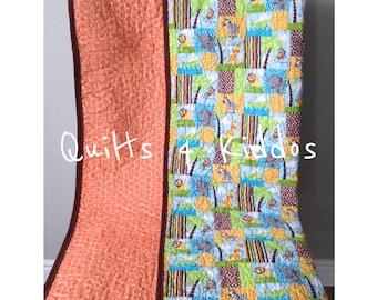 Modern Baby Quilt, Animal Quilt, Baby Boy Quilt, Lion Quilt, Zebra Quilt, Elephant Quilt, Giraffe Quilt