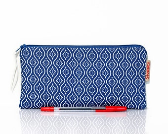 Make up bag blue, Graphic pattern, Blue pencil case, Small pouch, Pen bag, School pencil case, Gadget bag, Cosmetic case, Lined pouch