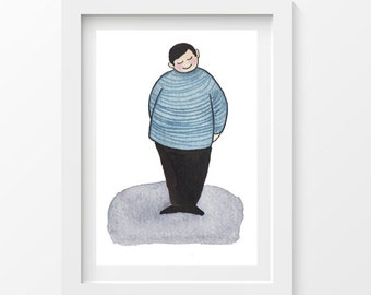Striped shirt boy postcard - printed on thick paper