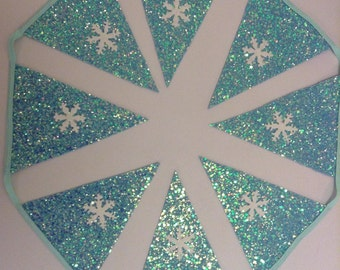 Snowflake Glitter Bunting - Frozen Inspired - Ice Queen - Winter Wonderland - Snow - Themed Party Decor