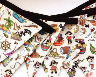 Children's Pirate Bunting, Boys Room Decor, pirate pennant, gift for boys, party decor, multi-coloured flags, birthday party decor, sailor