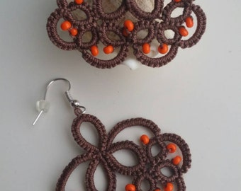 Tatted brown earrings orange beads tatted frivolite chiacchierino lacy colour choice crochet cotton thread