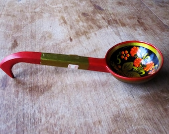 Genuine 1970's Russian Folk Art Khokhloma Style, Hand Painted Vintage Wooden Spoon - Made in USSR