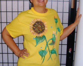 Hand painted sunflowers and butterflies yellow T-shirt with matching cap