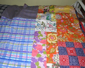 60's 70's hand made quilt top 63x50 size