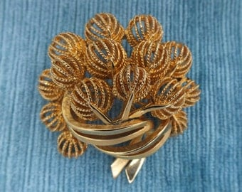 Large Vintage  Brooch /Signed Corocraft / Coro Brooch / Gold Tone