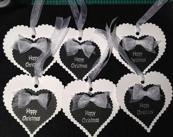 6  Blaxk & White Heart shaped Christmas gift tags