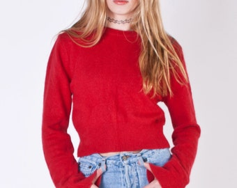 1990s Cropped Red ANGORA Sweater / Small size