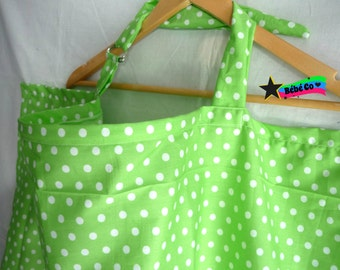 Nursing Cover green with white polka dots, open neckline. Breastfeeding