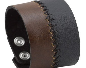 Black and brown leather bracelet, Unique leather wrist band smooth & textured stitched leather cuff bracelet, Leather jewelry gift ideas