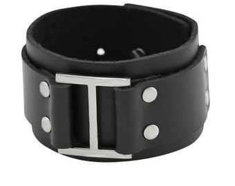 Wide Black Leather Cuff Bracelet with a Large Metal and Studs Decoration, Black Handmade Double Layer Leather Bracelet with Stud Closure