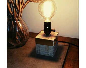 "Handmade rustic wood lamp, wood lamp, Industrial lamp, Edison lamp, Desk lamp, Rustic lamp, Lamp, Edison bulb, table lamp, ""Golden Cube"""