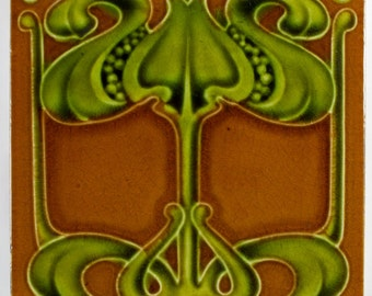 J. H. Barratt & Co. Art Nouveau pottery tile c.1903
