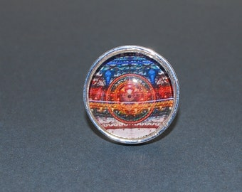Adjustable ring - abstract blue, orange, red...