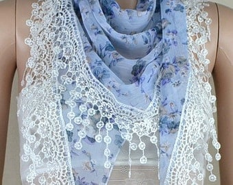 Light blue chiffon scarf, pure and fresh and small broken flower scarf, white lace tassels triangle scarf, shawl