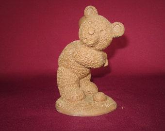 "Brileyco #1751,Golf bear,molded pecan resin figurine,4 1/2"",vintage,craft,painting"