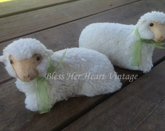 Two Paper Mache Sheep with layer of fleece