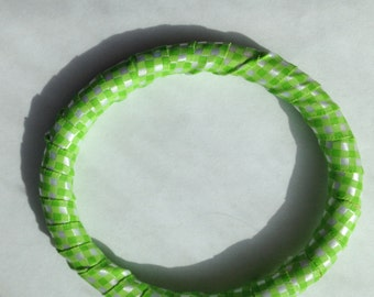 Lime Green Gingham Bangle