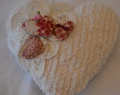 Embellished Chenille Heart Pillow