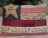 American Flag Embroidered Pillow/ Patriotic Folk Art