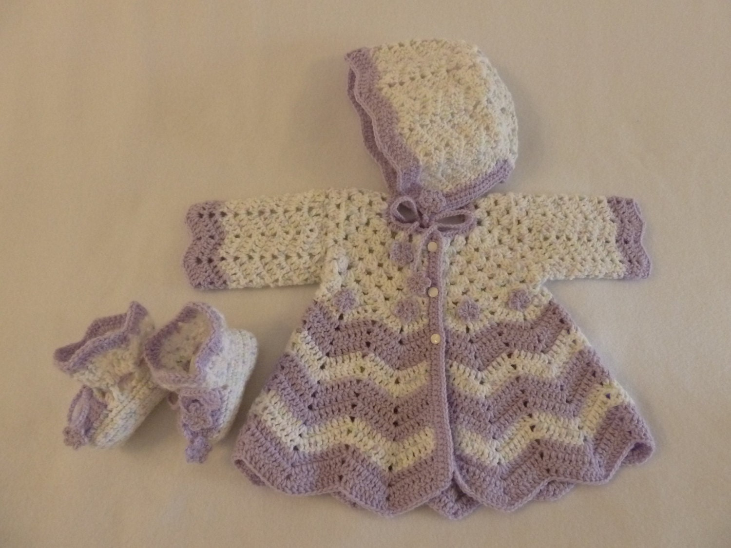 Free Baby Bunting Patterns To Crochet : Lavendar and Pastel Crocheted Baby Sweater by ...