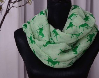Galloping horse mint infinity scarf, Infinity fashion ladies scarf, wrap up shawl, woman loop scarf