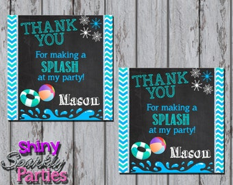 Printable POOL PARTY FAVOR Tags - Winter Pool Party Thank You Tags - Winter Pool Party Tags - Pool Party Favor Tags - Pool Birthday Party