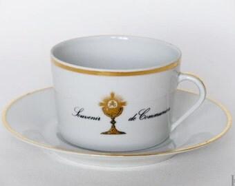Limoges teacup. Vintage porcelain. First communion gift 1970s teacup.
