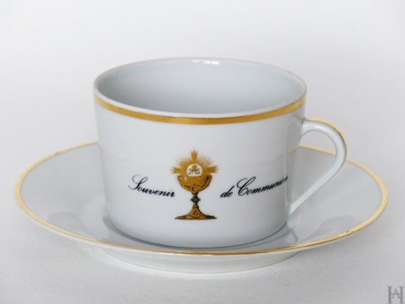 Limoges teacup vintage porcelain first communion gift 1970s - Vaisselle de luxe marque ...