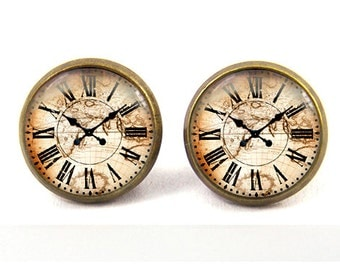 clock earrings watch post stud earrings jewelry -with gift box