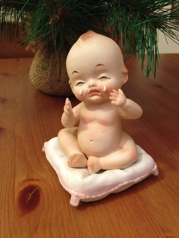 Antique Kewpie Doll 1960s Rare Porcelain Bisque Crying