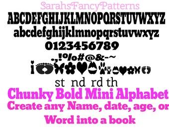 Chunky Bold Mini Alphabet - Book folding PATTERN