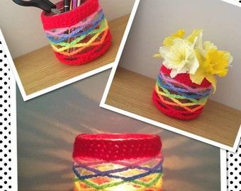 Crochet glass jars - multi functional