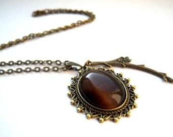 Bronze, bronze tone pendant brown glass cateye cabochon necklace spring branch flower