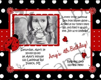 LadyBug Birthday Party Invitation