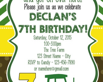 Green & Yellow Tractor Birthday Party Invitation