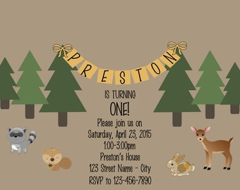 Forrest Friends Birthday Party Invitation