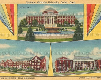 SMU Southern Methodist University Printable download Dallas Texas Vintage Postcard