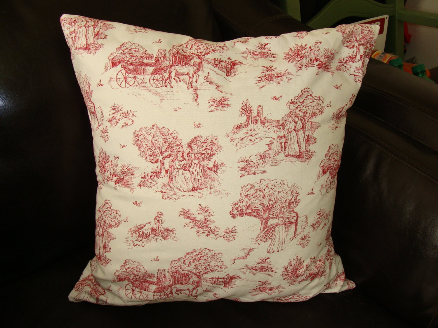 Shabby Chic Toss Pillows : Toile Throw Pillow Shabby Chic Feather insert.