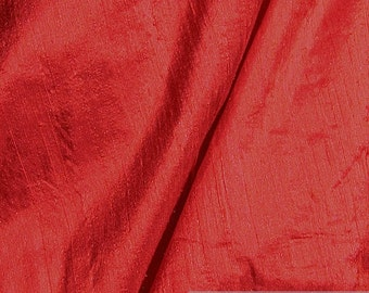Fabric natural Shantung silk red