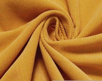 Fabric pure cotton corduroy saffron 1 mm needlecord saffron yellow
