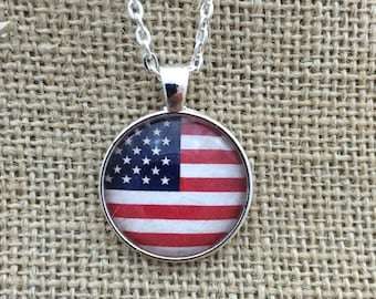 American Flag Glass Pendant Necklace with Chain