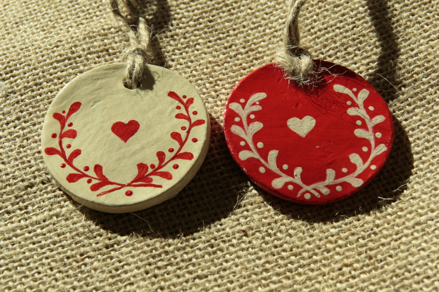 Scandinavian Christmas Decorations Set Of 2 Clay By