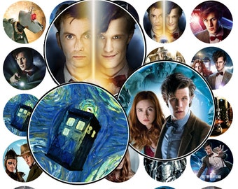 """1"""" Circle Doctor WHO Bottle Cap Image Sheet for Pary Favors - INSTANT DOWNLOAD - A"""